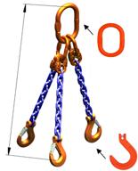 33948279 Zawiesie łańcuchowe trzycięgnowe klasy 10 miproSling KFW 21,2/15,0 (długość łańcucha: 1m, udźwig: 15-21,2 T, średnica łańcucha: 16 mm, wymiary ogniwa: 260x140 mm)