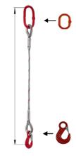 33948340 Zawiesie linowe jednocięgnowe miproSling HE 29,00 (długość liny: 1m, udźwig: 29 T, średnica liny: 52 mm, wymiary ogniwa: 340x180 mm)