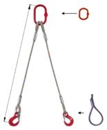 33948396 Zawiesie linowe dwucięgnowe miproSling F 35,0/25,0 (długość liny: 1m, udźwig: 25-35 T, średnica liny: 48 mm, wymiary ogniwa: 350x190 mm)