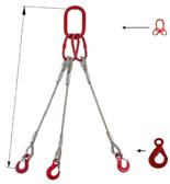 33948432 Zawiesie linowe trzycięgnowe miproSling LE 18,0/12,5 (długość liny: 1m, udźwig: 12,5-18 T, średnica liny: 28 mm, wymiary ogniwa: 275x150 mm)