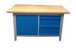 77156924 Stół warsztatowy z nadbudową, 3 szuflady, 1 szafka (wymiary: 1500x750x900 mm)