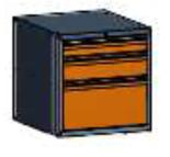 99551570 Szafka typ B, 3 szuflady 300+150+100 (wymiary: 625x600x690 mm)