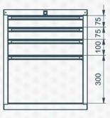 99551625 Szafka typ C, 4 szuflady (wymiary: 625x520x550 mm)