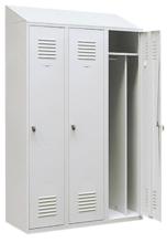 99552184 Szafka ubraniowa 0,8mm ze skośnym daszkiem, zamek na kłódkę, 3 drzwi (wymiary: 2000x900x490 mm)