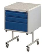 99552572 Szafka laboratoryjna na kółkach, blat z konglomeratu kwarcowogranitowego, 3 szuflady (wymiary: 810x500x540 mm)