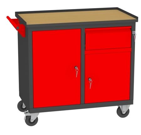 00142042 Wózek narzędziowy, 2 drzwi, 1 szuflada (wymiary: 860x950x505 mm)