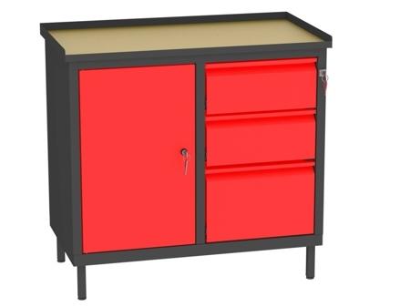 00142057 Szafka warsztatowa, 1 drzwi, 3 szuflady (wymiary: 850x900x505 mm)
