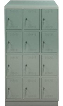 00150558 Szafa skrytkowa z daszkiem, 3 segmenty, 12 skrytek (wymiary: 2135x1050x480 mm)