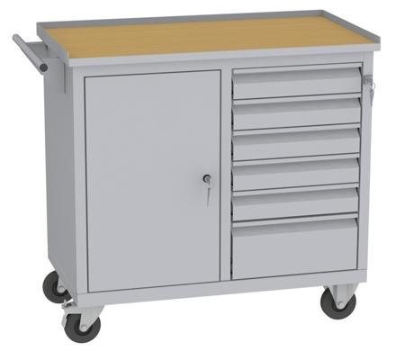 00150649 Wózek narzędziowy, 1 drzwi, 6 szuflad (wymiary: 860x950x505 mm)