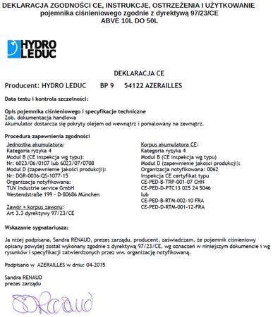 01538869 Akumulator hydrauliczny pęcherzowy Hydro Leduc ABVE 20 (objętość azotu: 17,8 l/dm³, maksymalne ciśnienie: 330 bar)