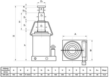 6276342 Podnośnik hydrauliczny teleskopowy - niski (wysokość podnoszenia min/max: 160/350mm, udźwig: 20T)