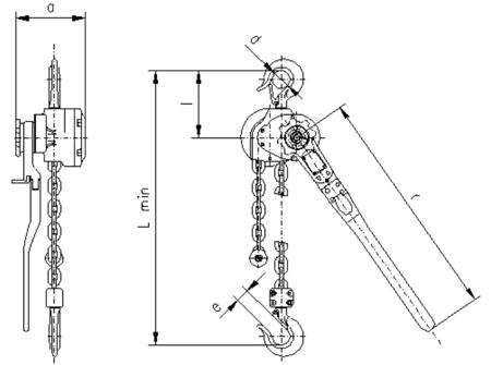 DOSTAWA GRATIS! 22021333 Wciągnik dźwigniowy, rukcug z łańcuchem ogniwowym RZC/5.0t (wysokość podnoszenia: 3m, udźwig: 5 T)