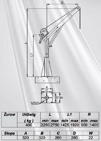DOSTAWA GRATIS! 53368255 Żuraw ze stopą i wciągarką ręczną z liną 12m (udźwig: 400 kg, wysokość podnoszenia: 2250-2750 mm)