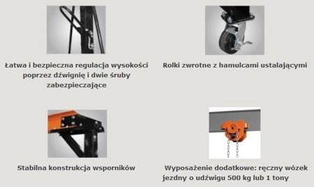 DOSTAWA GRATIS! 44369007 Suwnica bramowa, mobilny dźwig portalowy (udźwig: 1000 kg, szerokość w świetle: 2300 mm, wysokość podnoszenia: 2500-3600 mm)