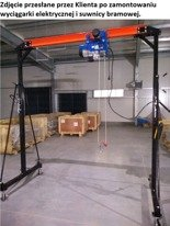 00071585 Suwnica bramowa, mobilny dźwig portalowy + wyciągarka linowa elektryczna z wózkiem jezdnym (udźwig suwnicy: 1000 kg, szerokość w świetle: 2300 mm, wysokość podnoszenia: 2500-3600 mm, udźwig wyciągarki: 600/1200 kg, gługość liny: 12m)