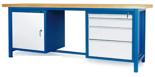 00853654 Stół warsztatowy, 1 drzwi, 4 szuflady (wymiary: 2100x900x740 mm)