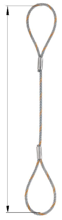 33939249 Zawiesie linowe jednocięgnowe zaciskane tulejkami cylindrycznymi miproSling typu F (udźwig: 29 T, wymiary pętli: 830/415 mm, średnica liny: 52 mm, długość liny: 1 m)
