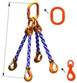 33948307 Zawiesie łańcuchowe czterocięgnowe klasy 10 miproSling WLHW 2,0/1,5 (długość łańcucha: 1m, udźwig: 1,5-2 T, średnica łańcucha: 5 mm, wymiary ogniwa: 110x60 mm)