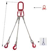 33948451 Zawiesie linowe trzycięgnowe miproSling FK 18,0/12,5 (długość liny: 1m, udźwig: 12,5-18 T, średnica liny: 28 mm, wymiary ogniwa: 275x150 mm)