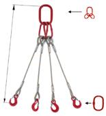 33948495 Zawiesie linowe czterocięgnowe miproSling T 18,0/12,5 (długość liny: 1m, udźwig: 12,5-18 T, średnica liny: 28 mm, wymiary ogniwa: 275x150 mm)