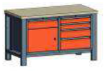 99551551 Stół dwójka, stelaż z blatem, 1 drzwi, 5 szuflad (wymiary: 850-900x1400x700 mm)