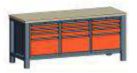 99551559 Stół trójka, stelaż z blatem, 12 szuflad (wymiary: 850-900x2000x700 mm)