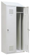 99552180 Szafka ubraniowa 0,8mm ze skośnym daszkiem, zamek na kłódkę, 2 drzwi (wymiary: 2000x600x490 mm)