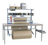 99767959 Zestaw do pakowania (szerokość cięcia: 1300 mm) + Solidny stół warsztatowy GermanTech z regulacją wysokości 720-970mm (maks. obciążenie: 150 kg, wymiary: 1600x800mm)