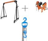 DOSTAWA GRATIS! 00071885 Suwnica bramowa, mobilny dźwig portalowy z wózkiem jezdny ręczny z napędem i wciągarką łańcuchową ręczną (udźwig: 2000 kg, wysokość robocza: 2400-3600 mm, szerokość między kolumnami: 2360 mm, wys. podn. wciągarki: 3m)