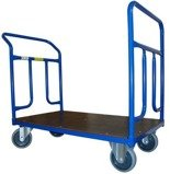 DOSTAWA GRATIS! 13340615 Wózek platformowy ręczny dwuburtowy (koła: pełna guma 160 mm, nośność: 400 kg, wymiary: 1200x700 mm)
