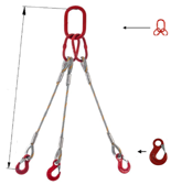 DOSTAWA GRATIS! 33948413 Zawiesie linowe trzycięgnowe miproSling HE 52,0/37,0 (długość liny: 1m, udźwig: 37-52 T, średnica liny: 48 mm, wymiary ogniwa: 400x200 mm)