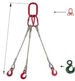 DOSTAWA GRATIS! 33948417 Zawiesie linowe trzycięgnowe miproSling C-WLL 15,0/11,0 (długość liny: 1m, udźwig: 11-15 T, średnica liny: 26 mm, wymiary ogniwa: 230x130 mm)