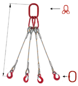 DOSTAWA GRATIS! 33948498 Zawiesie linowe czterocięgnowe miproSling T 36,0/26,0 (długość liny: 1m, udźwig: 26-36 T, średnica liny: 40 mm, wymiary ogniwa: 350x190 mm)