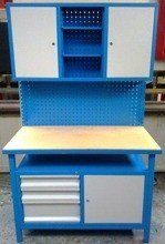 DOSTAWA GRATIS! 77156918 Stół warsztatowy + nadbudowa wysoka, 3 szuflady, 3 szafki (wymiary: 1200x600x1800 mm)