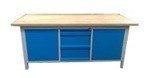 DOSTAWA GRATIS! 77156923 Stół warsztatowy z nadbudową, 3 szuflady, 2 szafki (wymiary: 2000x750x900 mm)
