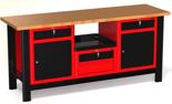 DOSTAWA GRATIS! 87871539 Stół warsztatowy z szafką, 4 szuflady, 2 drzwi - blat pokryty klepką bukową (wymiary: 1960x890x600 mm)
