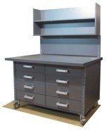 DOSTAWA GRATIS! 91073672 Stół z szufladami i ścianką na kółkach, 8 szuflad - nakładka blacha ocynkowana (blat: 120x78 cm, wys: 78 cm)