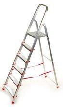 DOSTAWA GRATIS! 99674638 Drabina domowa 6 stopniowa, czerwona (wysokość robocza: 3,19m)