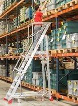 DOSTAWA GRATIS! 99675070 Drabina magazynowa 7 stopniowa FARAONE (wysokość robocza: 3,52m)