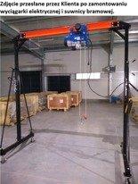 RETOR 322+45671585 Suwnica, mobilny dźwig + wciągarka linowa elektryczna z wózkiem (suwn: 1000 kg, szer: 2300mm, wys podn: 2500-3600mm, wyciągark 600/1200kg, lina: 12m)