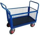 Wózek platformowy ręczny osiatkowany (koła: pneumatyczne 225 mm, nośność: 250 kg, wymiary: 1000x600x450 mm) 13340621