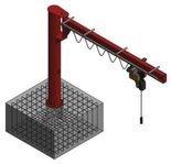 Żuraw słupowy obrotowy z wciągnikiem łańcuchowy elektrycznym na wózku elektrycznym (udźwig: 1000 kg, długość ramienia: 4000mm, wysokość do belki: 4000mm) 03076001