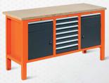 99551615 Stół warsztatowy, 9 szuflad, 2 drzwi (wymiary: 850-900x1765x620 mm)