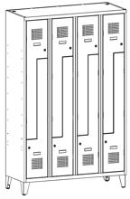 99551985 Szafka ubraniowa 0,5mm na nóżkach, 8 drzwi w kształcie L (wymiary: 1940x1200x500 mm)