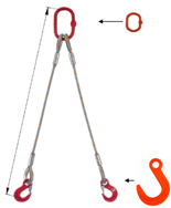 DOSTAWA GRATIS! 33948381 Zawiesie linowe dwucięgnowe miproSling FW 40,0/29,0 (długość liny: 1m, udźwig: 29-40 T, średnica liny: 52 mm, wymiary ogniwa: 400x200 mm)
