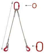DOSTAWA GRATIS! 33948391 Zawiesie linowe dwucięgnowe miproSling T 40,0/29,0 (długość liny: 1m, udźwig: 29-40 T, średnica liny: 52 mm, wymiary ogniwa: 400x200 mm)