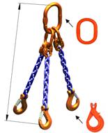 DOSTAWA GRATIS! 33971874 Zawiesie łańcuchowe trzycięgnowe klasy 10 miproSling KLHW 4,0/2,8 (długość łańcucha: 1m, udźwig: 2,8-4,0 T, średnica łańcucha: 7 mm, wymiary ogniwa: 160x90 mm)