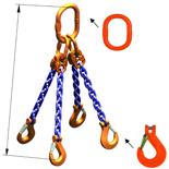 DOSTAWA GRATIS! 33971882 Zawiesie łańcuchowe czterocięgnowe klasy 10 miproSling KHSW 56,0/40,0 (długość łańcucha: 1m, udźwig: 40-56 T, średnica łańcucha: 26 mm, wymiary ogniwa: 400x200 mm)