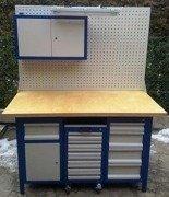 DOSTAWA GRATIS! 77156969 Stół warsztatowy, 5 szuflad, 1 szafka + szafa z nadbudową + wózek z 6 szufladami (wymiary: 1500x750x850 mm)