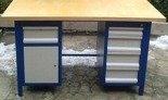 DOSTAWA GRATIS! 77156970 Stół warsztatowy, 5 szuflad, 1 szafka (wymiary: 1500x750x850 mm)